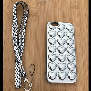Accessories - NEW Silver Iphone 6/6s 3D Hearts Case